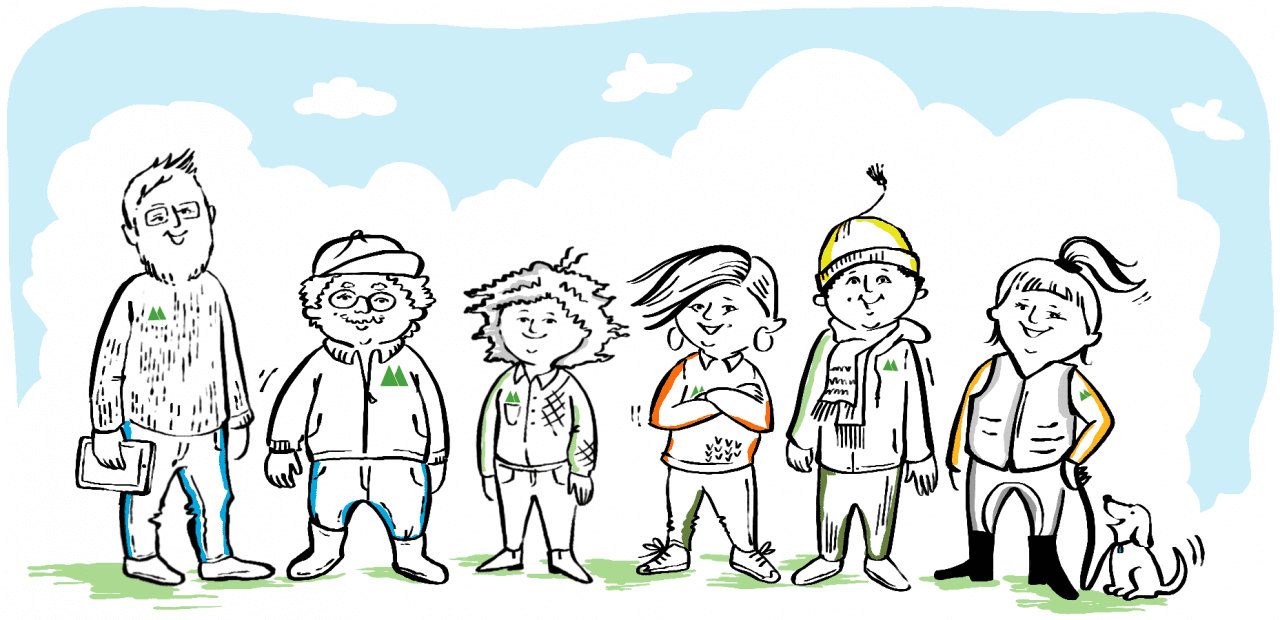 Medlemmar i Mellanskog, illustration Maja Larsson
