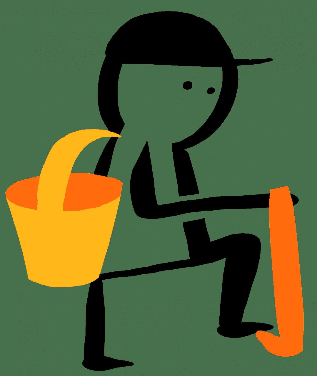 Tecknad bild på person som planterar skog